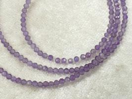 2.2mm Petite perles d'Améthyste naturel du Brésil x10cm (3.9inch) rondelle micro facettée pierre fine violette (#AC466)