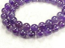 8.5/8.8mm Perles d'Améthyste naturel en boule / ronde du Brésil pierre fine violette x10pc (#AC555)