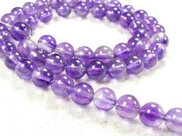 6.3/6.6mm Perles d'Améthyste naturel en boule / ronde du Brésil pierre fine violette (#AC620)