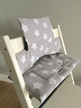 """Puckdaddy Sitzkissen """"Sterne grau"""" für Stokke Tripp Trapp Hochstuhl"""