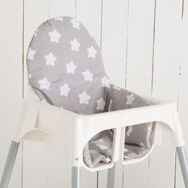 Sitzkissen Sterne grau für IKEA Antilop Hochstuhl u.v.m.