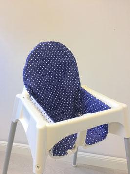 Sitzkissen Punkte Blau für IKEA Antilop Hochstuhl u.v.m.