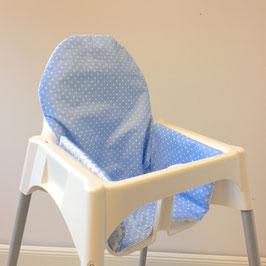 Sitzkissen Punkte hellblau für IKEA Antilop Hochstuhl u.v.m.