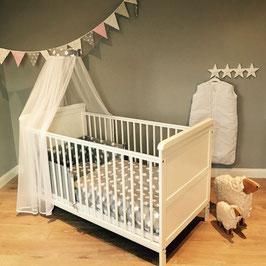 Bett-Set Punkte/Sterne grau (Nestchen, Bettwäsche, Betthimmel) für alle Babybetten