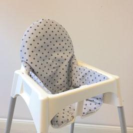 Sitzkissen graue Sterne für IKEA Antilop Hochstuhl u.v.m.