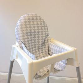 Sitzkissen Rauten Grau für IKEA Antilop Hochstuhl u.v.m.