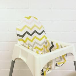 Sitzkissen Chevron Gelb für IKEA Antilop Hochstuhl u.v.m.