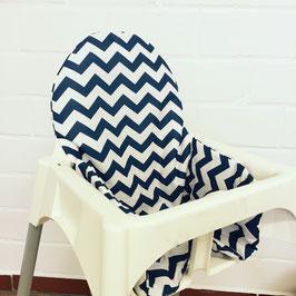 Sitzkissen Chevron Blau für IKEA Antilop Hochstuhl u.v.m.