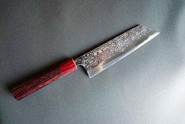 商品名 貴輔-KISUKE-ATS-34 文化型(切付型)170mm  stainless割込 鎚目 磨き仕上げ 紫檀八角柄