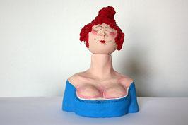 Damen-Büste blau-rot