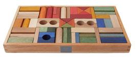 WOODEN STORY: Regenbogen Bauklötze| 54 Stück| im edlen Holzbox