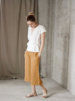 Women's Linen Wide 3/4 Leg Pants