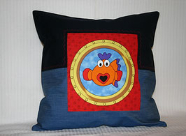 Kissenhülle Fisch Herzmund blau