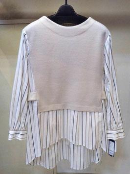 【商品No.tops_44】BLue Fronce  ベストレイヤード風チュニックシャツ【春物】