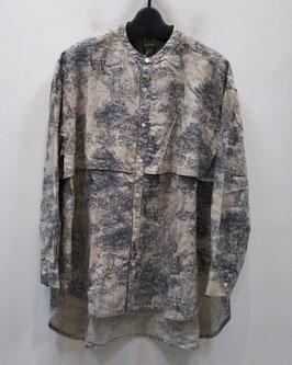 【商品番号:tops_2】RNA 風景柄リネンバンドカラービッグシャツ【春物】