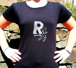 Original-T Lady-Fit T-Shirt   Wood Print ( vorn )Rennsteig R (hinten) Rennsteigstrecke