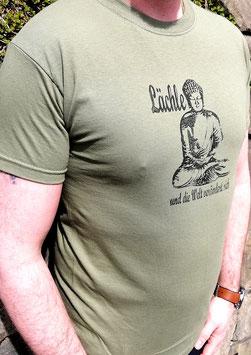 Original- T-Shirt Wood Print ( vorn )Buddha mit Spruch