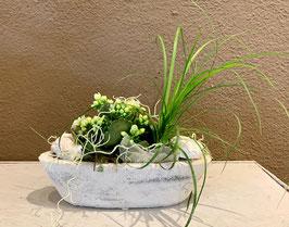 Gefäss bepflanzt für innen weiss