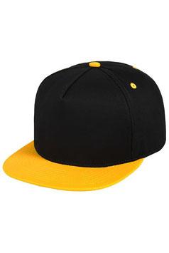 Пятипанельная двухцветная хлопковая    чёрный с жёлтым козырьком