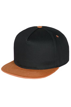 Пятипанельная двухцветная хлопковая    черный  с коричневым козырьком