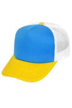 Бланковая бейсболка-тракер  |  белый голубым передком и жёлтым козырьком