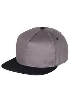 Бейсболка Пятипанельная двухцветная хлопковая     серый с черным козырьком