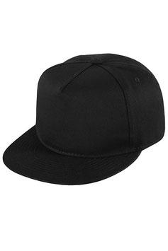 Пятипанельная однотонная хлопковая    бейсболка черная