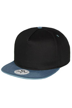 Бейсболка Пятипанельная двухцветная хлопковая     чёрный с  голубым-синим козырьком