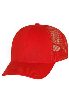 Шестипанельная однотонная хлопковая с загнутым козырьком |  красный