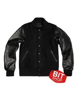 Колледж куртка c кожаными рукавами| черная