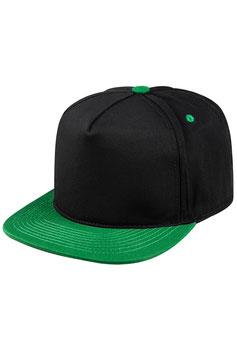 Пятипанельная двухцветная хлопковая     чёрный с зелёным козырьком