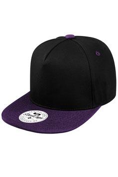 Пятипанельная двухцветная хлопковая     чёрный с фиолетовым козырьком