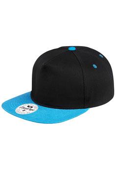 Пятипанельная двухцветная хлопковая    чёрный с голубым козырьком
