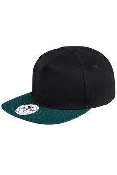 Пятипанельная двухцветная хлопковая    чёрный с сине-зелёным козырьком