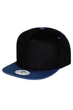 Бейсболка Пятипанельная двухцветная хлопковая     чёрный с синим козырьком