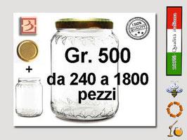 Vaso vetro regina per miele con capsula da 500 gr.