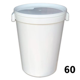 Secchiello in plastica alimentare con coperchio  per 60 kg. di miele