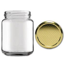Vaso vetro liscio per miele con capsula da 500 gr. stock da 120 pezzi   5 pacchi