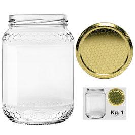 Vaso vetro alveolo per miele con capsula da 1000 gr. | 75 pezzi,  5 pacchi