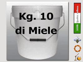 Secchiello in plastica alimentare con coperchio  per 10 kg. di miele
