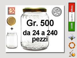 Vaso vetro regina per miele con capsula da 500 gr. stock da 120 pezzi