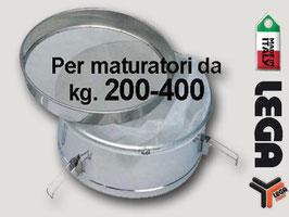 Filtro a sacco con prefiltro in acciaio inox lega per maturatori 200-400 kg.