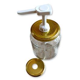 """Dosatore per miele bianco """"Quadro"""" su capsula da 500 e 1000 gr."""