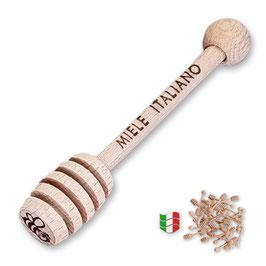 """Spargimiele in legno di faggio piccolo mm. 77 """"Miele Italiano"""""""