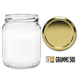 Vaso vetro alveolo per miele con capsula da 500 gr. | 240 vasi, 10 pacchi