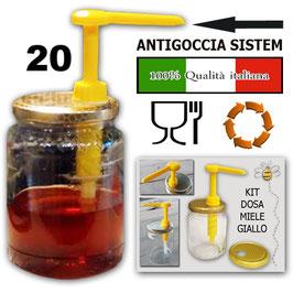 20 Dosatori gialli per miele su capsula da 500 e 1000 gr.