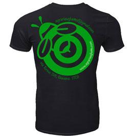 Maglietta Agraria Ughetto Apicoltura nera + logo verde