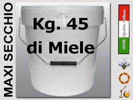 Secchiello in plastica alimentare con coperchio  per 45 kg. di miele