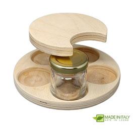 Porta vasetti 40 ml. in legno da 5 vasi