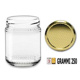 Vaso vetro alveolo  per miele con capsula da 250 gr. stock da 140 pezzi | 5 pacchi